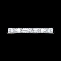 18K White Gold Baguette & Round Cut Diamond Wedding Band
