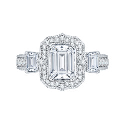 Emerald Cut Diamond Halo Bridal Ring In 18K White Gold (Semi-Mount)