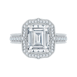 Emerald Cut Diamond Halo Bridal Engagement Ring In 18K White Gold (Semi-Mount)