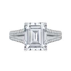 18K White Gold Emerald Cut Diamond Bridal Engagement Ring with Split Shank