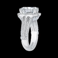 18K White Gold 7/8 Ct Diamond Carizza Boutique Semi Mount Engagement Ring fit Emerald Center