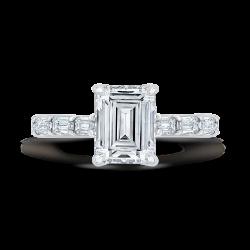 18K White Gold Emerald Cut Diamond Solitaire Plus Engagement Ring (Semi-Mount)