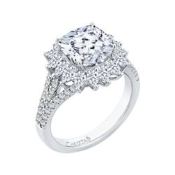 18K White Gold 1 1/5 Ct Diamond Carizza Boutique Semi Mount Engagement Ring fit Cushion Center