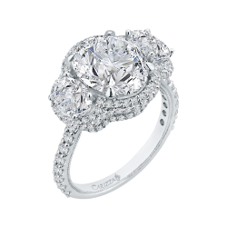 18K White Gold 2 1/5 Ct Diamond Carizza Boutique Semi Mount Engagement Ring fit Oval Center