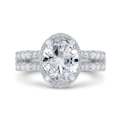 18K White Gold Oval Cut Diamond Halo Engagement Ring with Split Shank (Semi-Mount)