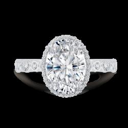 18K White Gold Oval Cut Diamond Halo Engagement Ring (Semi-Mount)