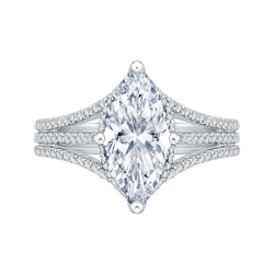 18K White Gold Marquise Diamond Engagement Ring (Semi-Mount)