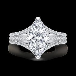 18K White Gold Marquise Diamond Engagement Ring (Semi-Mount)