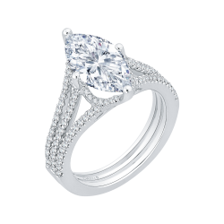 18K White Gold Marquise Diamond Engagement Ring