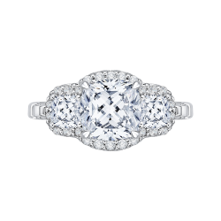 18K White Gold Cushion Cut Three-Stone Diamond Halo Engagement Ring (Semi-Mount)