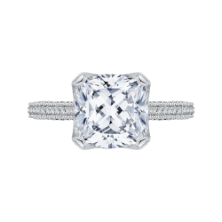Cushion Cut Diamond Engagement Ring In 18K White Gold (Semi-Mount)