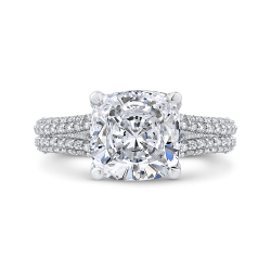 18K White Gold Cushion Diamond Engagement Ring (Semi-Mount)