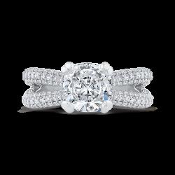 18K White Gold Cushion Cut Diamond Engagement Ringwith Split Shank (Semi-Mount)