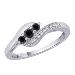 Black and White Diamond Twist Ring in 10K White Gold (1/4 cttw)