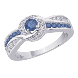 Bypass Style Blue and White Diamond Ring in 10K White Gold (2/3 cttw)