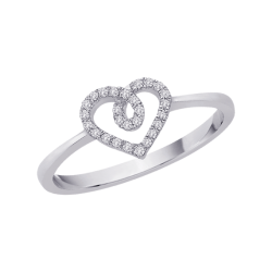 Diamond Heart Ring in 10K White Gold (0.11 cttw)
