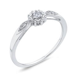 10K White Gold .08 Ct Diamond Fashion Ring