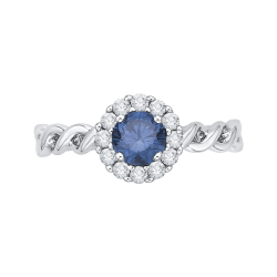 14K White Gold 3/4 ct. Blue & White Diamond Fashion Ring
