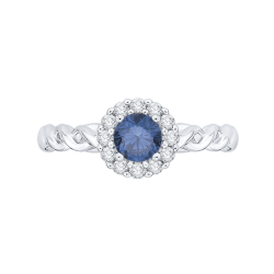 14K White Gold 3/4 ct. Center Blue Diamond Engagement Ring