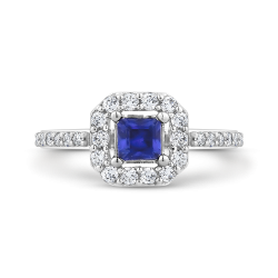 10K White Gold 3/8 Ct Diamond with 3/8 Ct Sapphire Fashion Ring