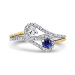 10K White & Yellow Gold 1/4 Ct Diamond with 1/2 Ct White & Blue Sapphire Fashion Ring
