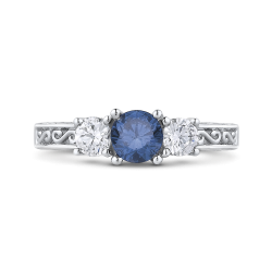 10K White Gold 7/8 Ct Blue and White Diamond Fashion Ring