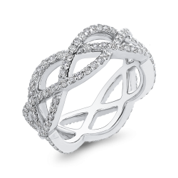 10K White Gold 1.06 ct Round Diamond Criss-Cross Anniversary Fashion Ring