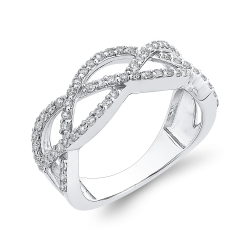 10K White Gold 1/2 ct Diamond Criss Cross Wedding Band Ring