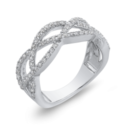 1/2 ct White Diamond 10K White Gold Criss Cross Wedding Band Ring
