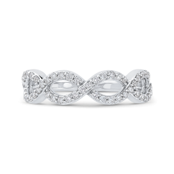 10K White Gold 1/2 ct Round Diamond Infinity Wedding Band Ring