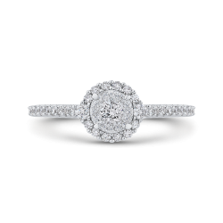10K White Gold 1/2 ct White Diamond Double Halo Fashion Ring
