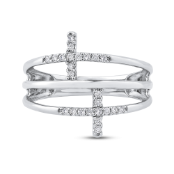 10K White Gold White Diamond Sideways Cross Ring (.14 cttw)