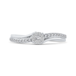 10K White Gold 1/4 ct Round Diamond Halo Fashion Ring