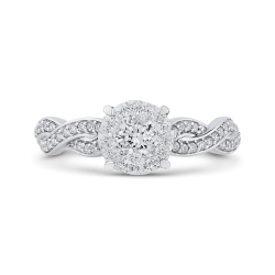 10K White Gold 3/4 ct White Diamond Halo Fashion Ring