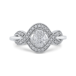10K White Gold 1/4 ct Round Diamond Infinity Fashion Ring