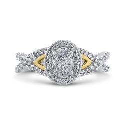 10K Two Tone Gold 1/2 ct Round White Diamond Fashion Ring