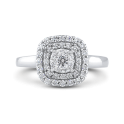 10K White Gold 1/2 ct White Diamond Cluster Fashion Ring