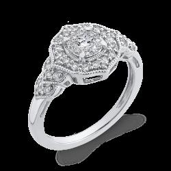 10K White Gold Round 3/8 ct White Diamond Fashion Ring