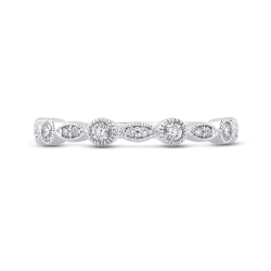 10K White Gold 1/4 ct Round Diamond Fashion Wedding Band Ring