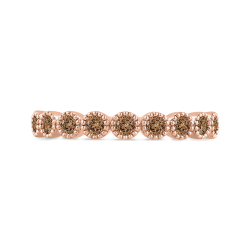 10K Rose Gold 1/3 ct Brown Diamond Wedding Band Fashion Ring