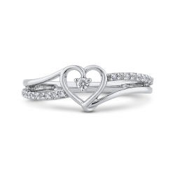10K White Gold Round White Diamond Fashion Heart Ring (.12 cttw)