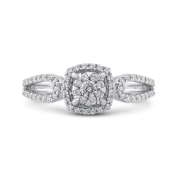10K White Gold 1/2 ct Round White Diamond Fashion Ring