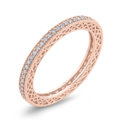 10K Pink Gold 1/3 ct Round White Diamond Eternity Wedding Band Ring