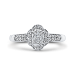 1/3 ct Round Diamond Cluster Fashion Ring In 10K White Gold
