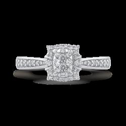 10K White Gold Round 1/3 ct White Diamond Fashion Cluster Ring