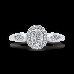 10K White Gold 1/3 ct Round Diamond Cluster Fashion Ring