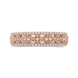 10K Rose Gold 3/8 ct Round Diamond Anniversary Band Ring