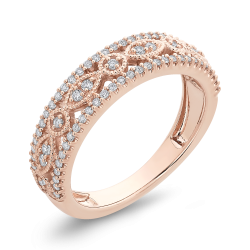 10K Pink Gold 3/8 ct Round Diamond Anniversary Band Ring
