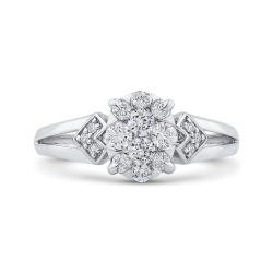10K White Gold 1/2 ct Round Diamond Cluster Fashion Ring