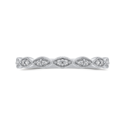10K White Gold Round 1/10 ct Diamond Infinity Band Fashion Ring
